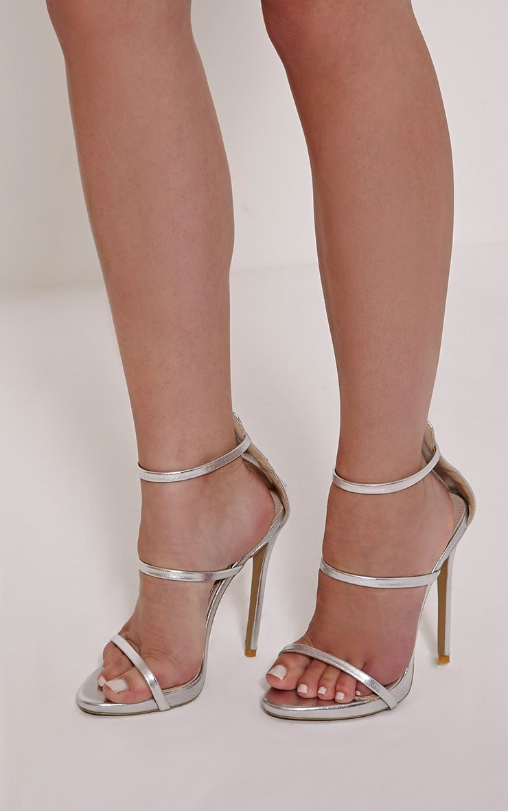 Asara Silver Metallic Heeled Sandals 1