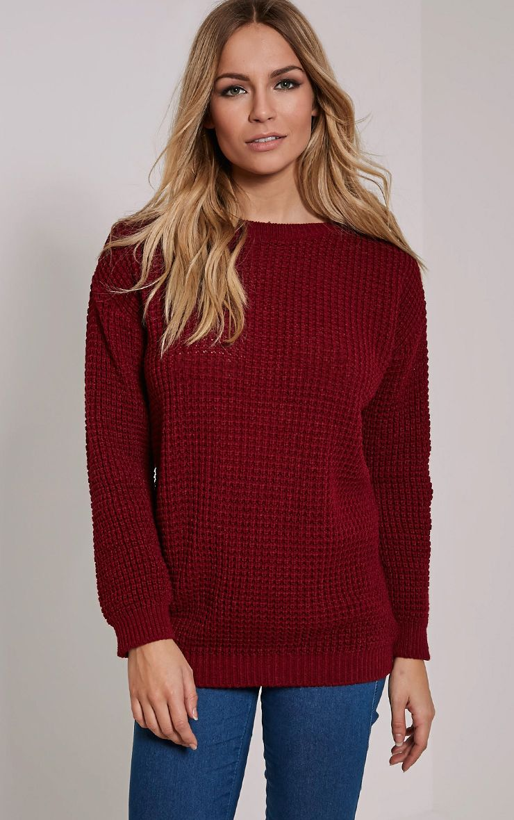 Alessandra Burgundy Oversized Knitted Jumper 1