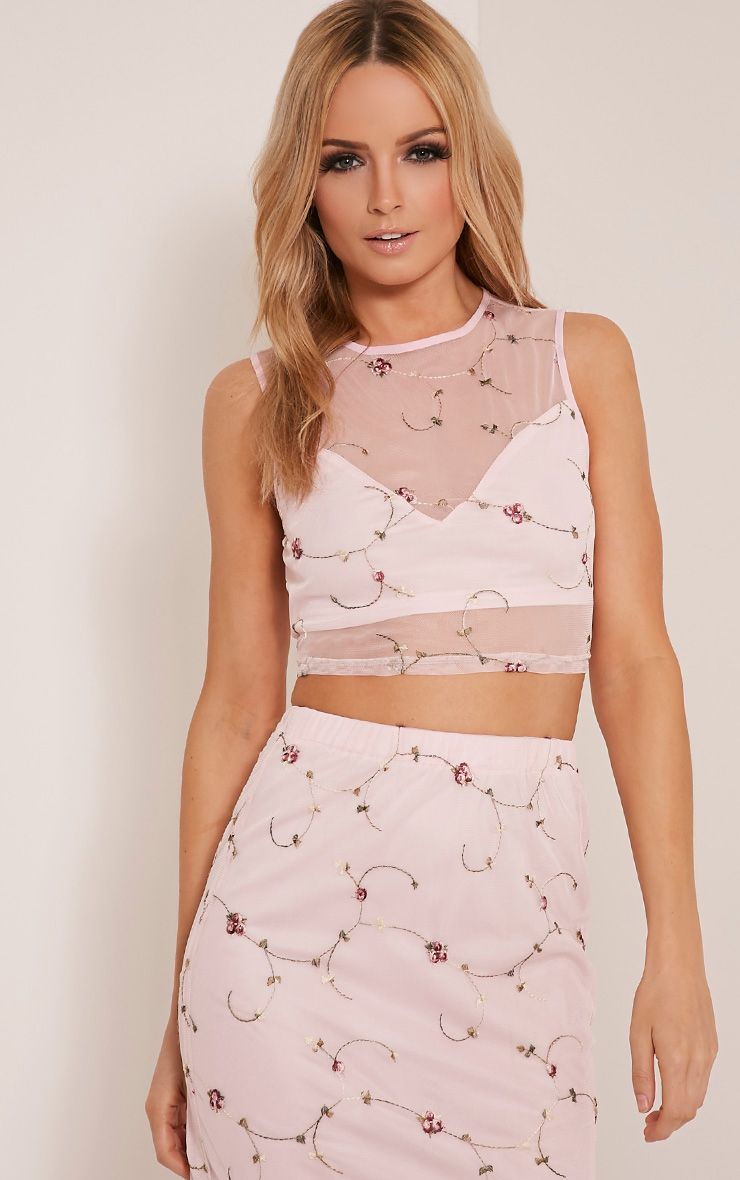 Mercy Dusty Pink Embroidered  Floral Mesh Crop Top 1