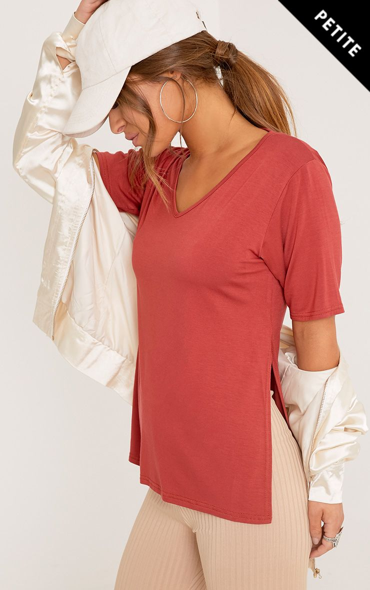 Petite Luann Tobacco V Neck Side Split T-Shirt