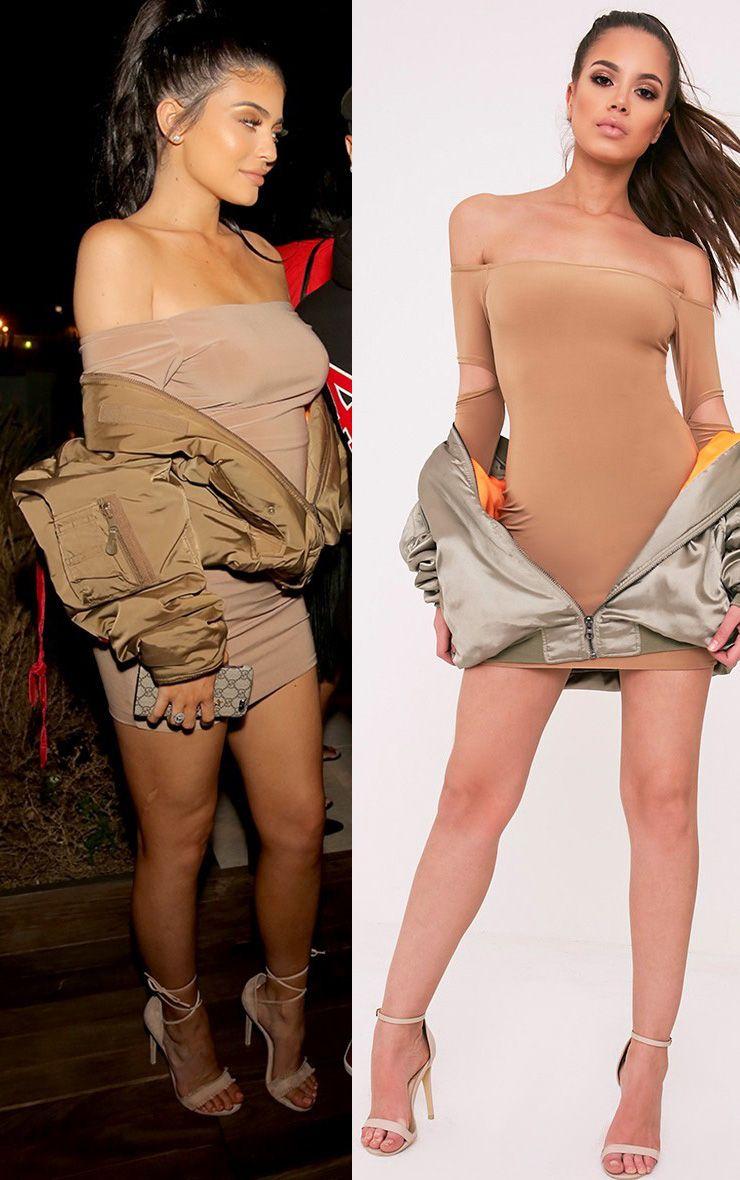 Lorna Camel Slinky Bardot Cut Out Sleeve Bodycon Dress