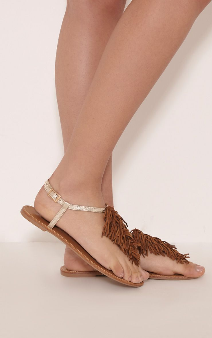 Meghanne Gold Fringe Sandals 1