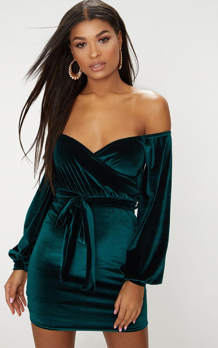 Emerald Green Velvet Balloon Sleeve Wrap Front Bardot Bodycon Dress