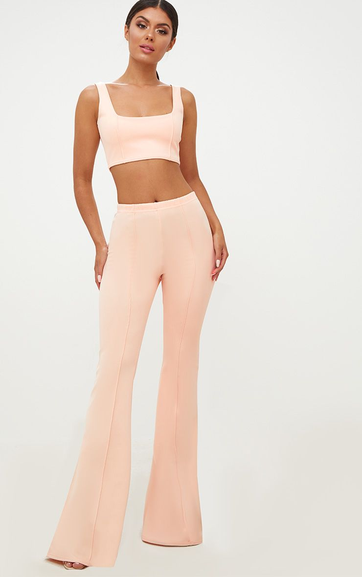 Nude High Waist Extreme Flare Long Leg Trousers 1