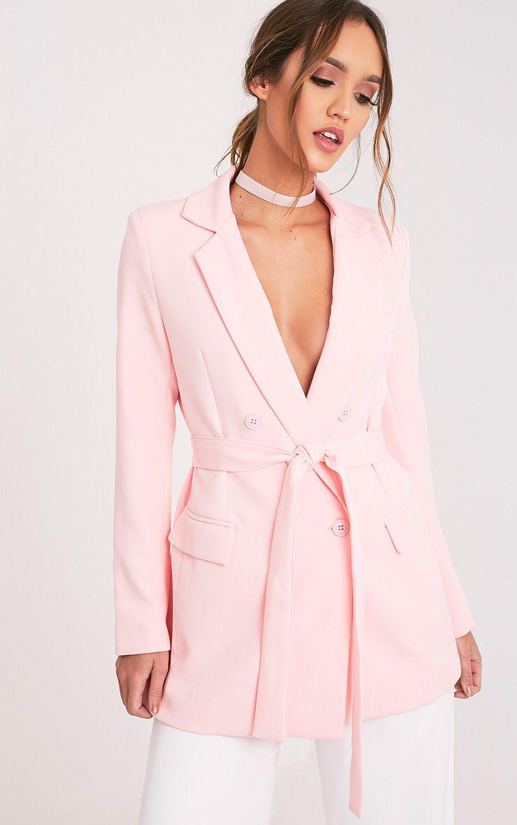 Rebecca Pink Belted Blazer 1