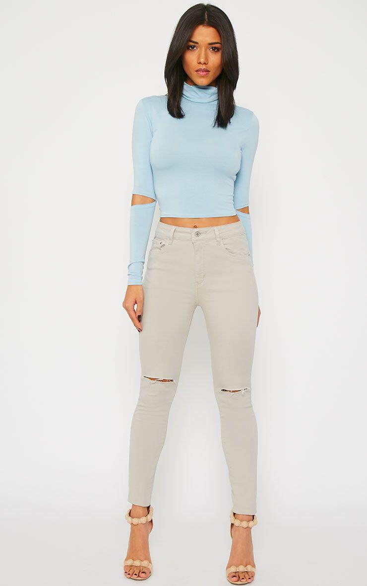 Bonita Stone Knee Slit Skinny Jean 1