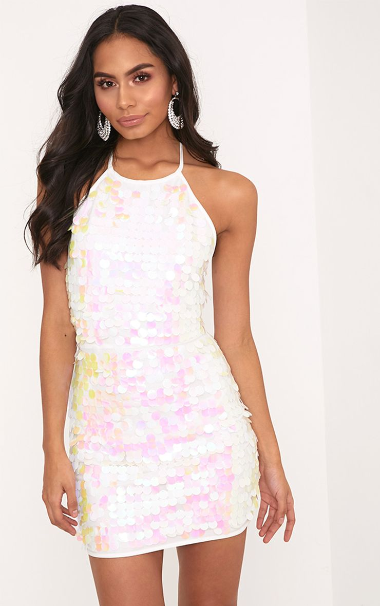 White Sequin Shift Dress