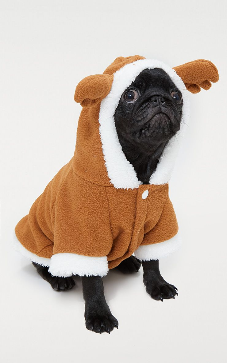 Brown Fluffy Reindeer Doggy Costume