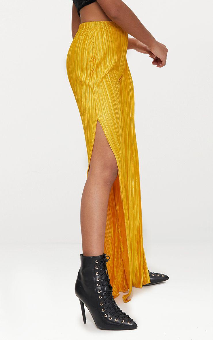 petite pantalon jaune moutarde pliss jambes vas es fendues petite. Black Bedroom Furniture Sets. Home Design Ideas