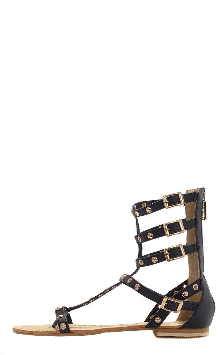 Sylvie Black Studded Strap Sandals  1