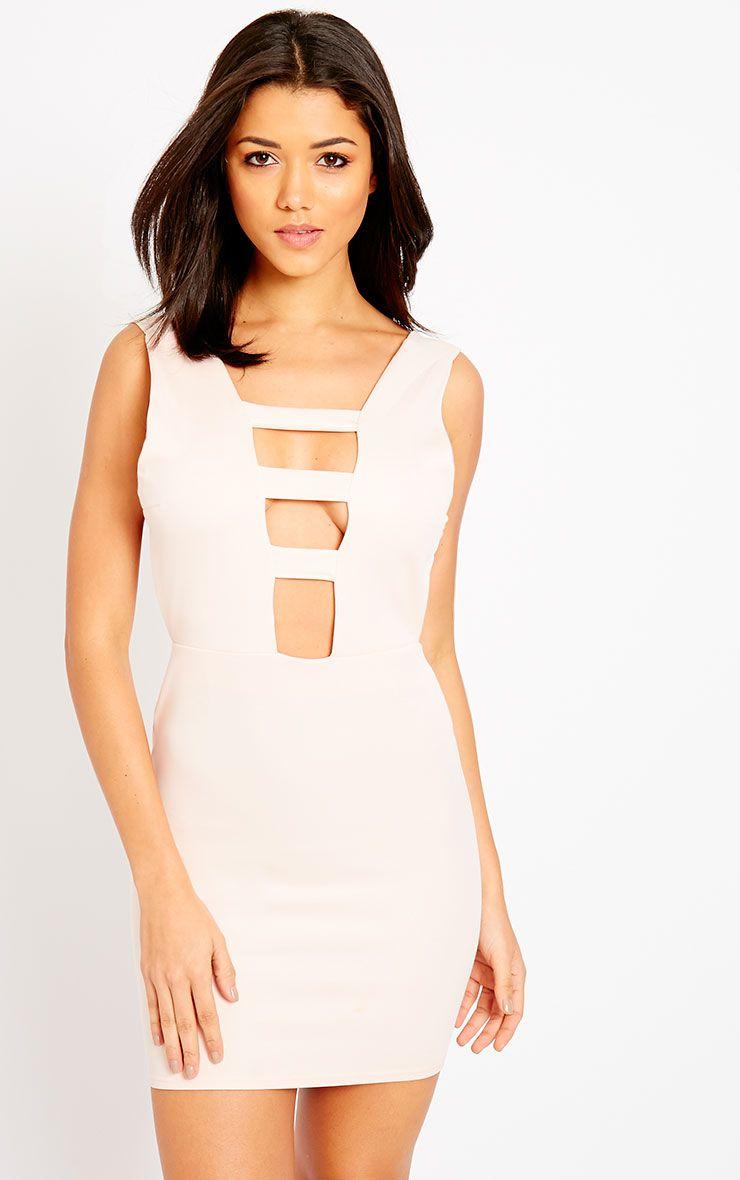 Neema Nude Cage Front Mini Dress 1