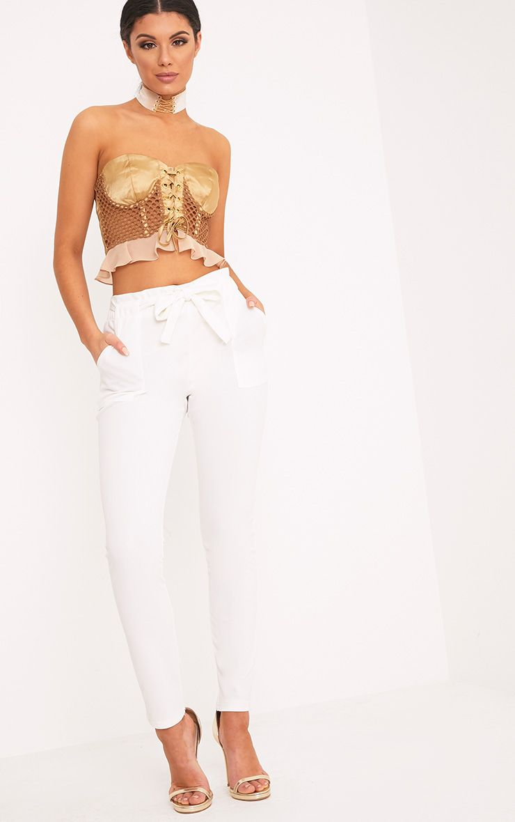 Marica White Tie Belted Trousers