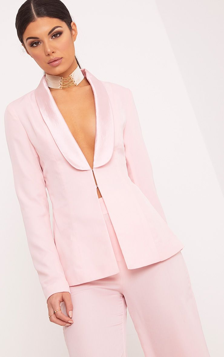 Elnie Baby Pink Satin Lapel Suit Jacket