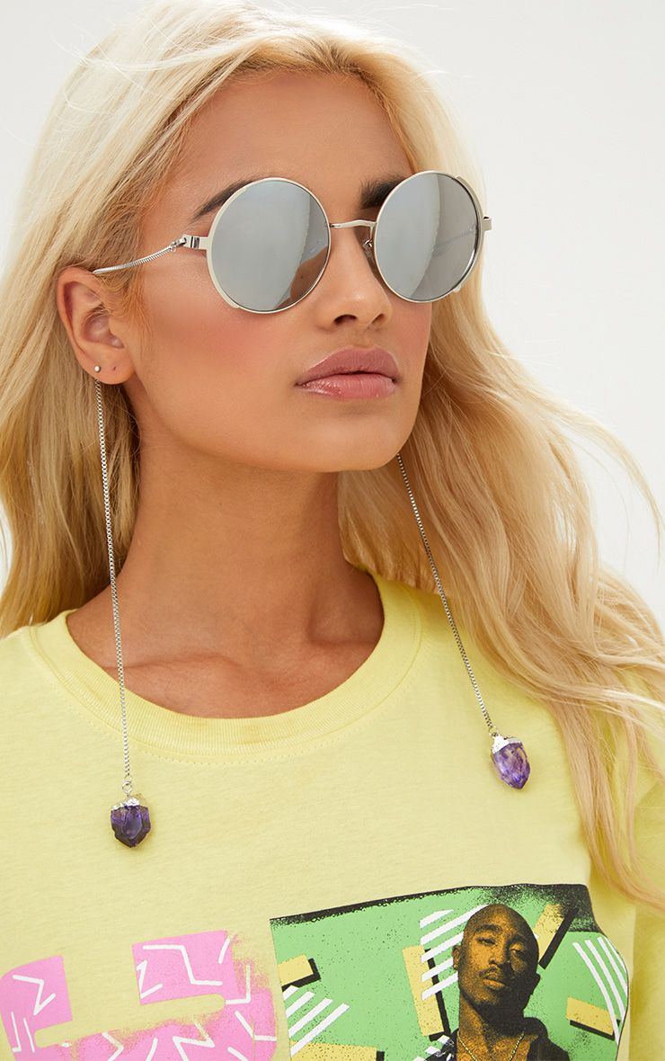 Silver Round Crystal Chain Sunglasses