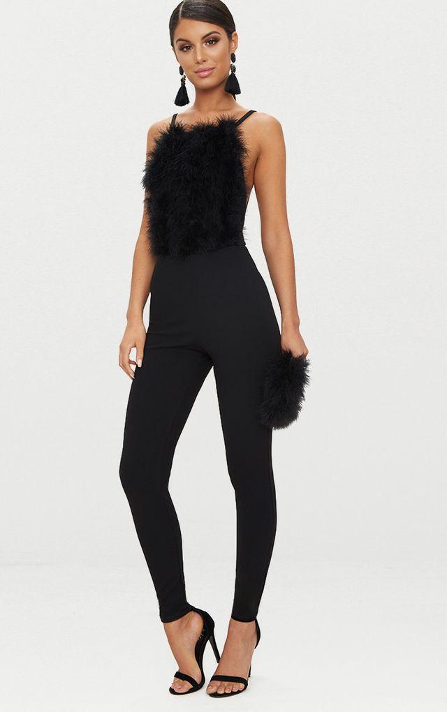Black Faux Fur Front Jumpsuit