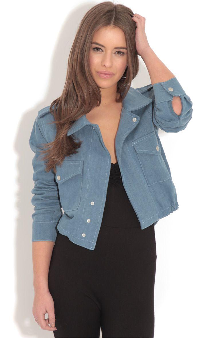 Product photo of Lola rose embroidered denim jacket blue