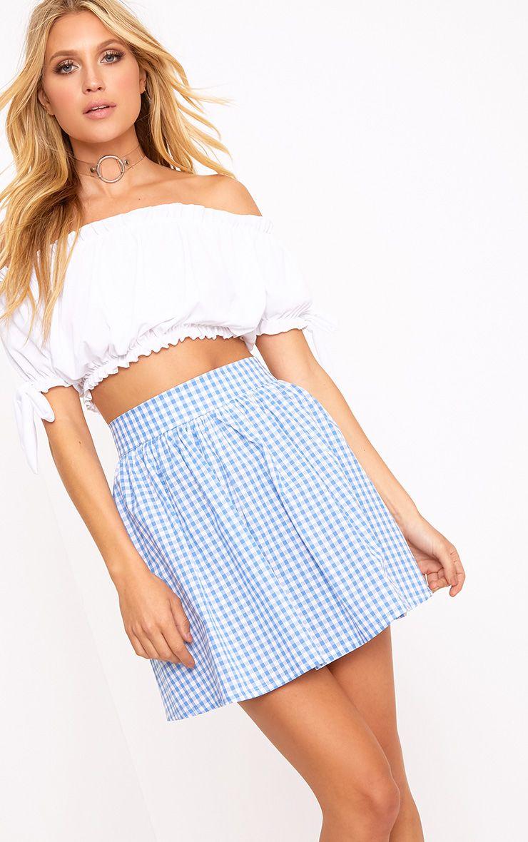Rosae Blue Gingham Floaty Mini Skirt