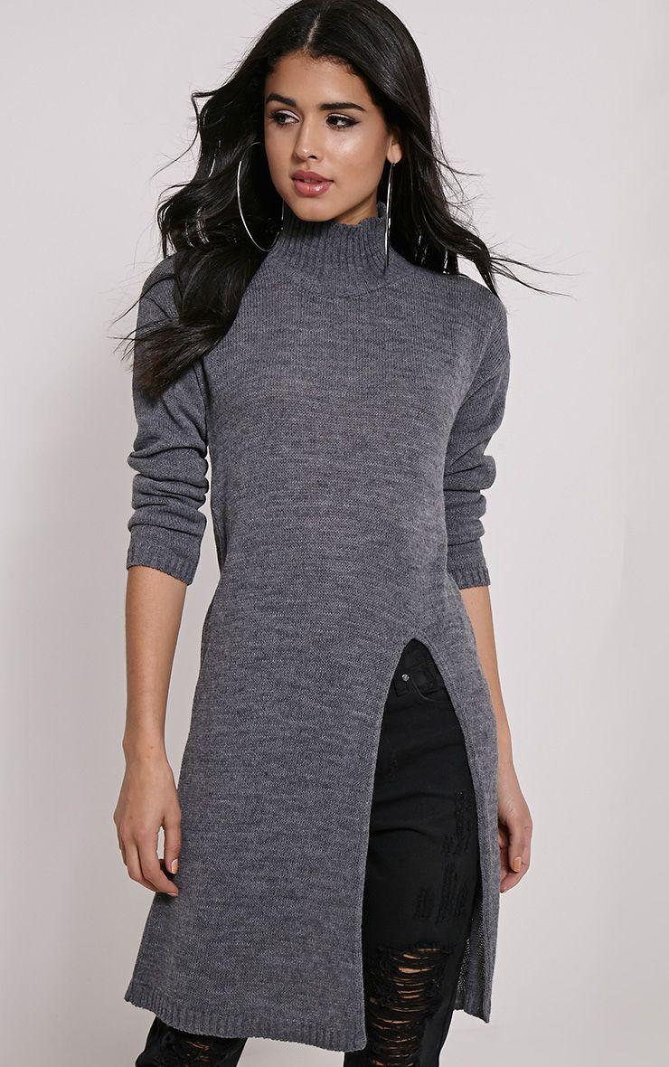 Elowen Dark Grey Flat Knit Front Split Jumper 1