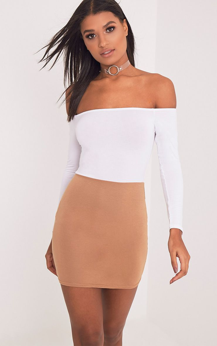Miyana Camel Contrast Bardot Bodycon Dress
