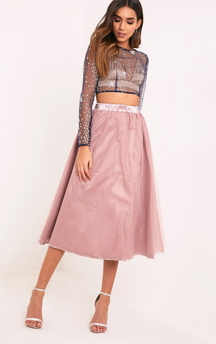 Amalia Mauve Satin Layer Tulle Skirt