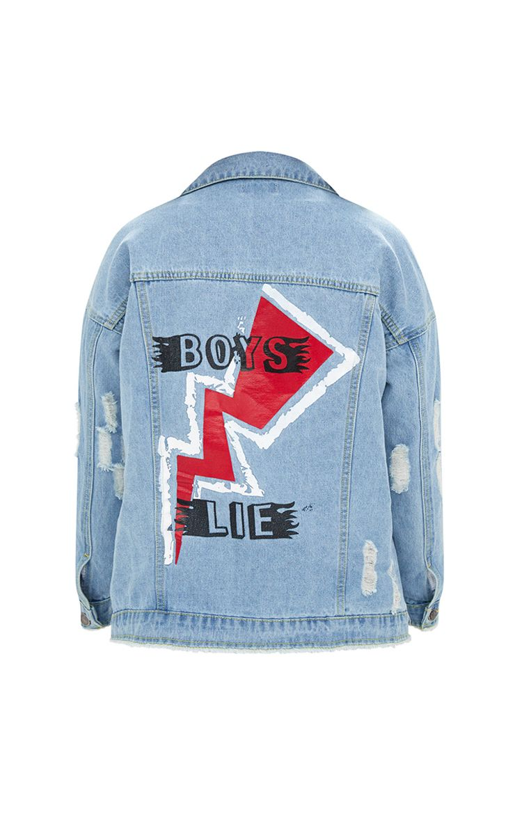 Light Wash Boys Lie Oversized Denim Jacket Denim