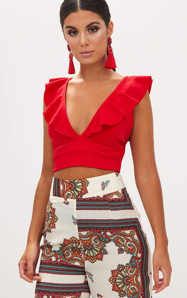 Red Frill Edge Plunge Crop Top