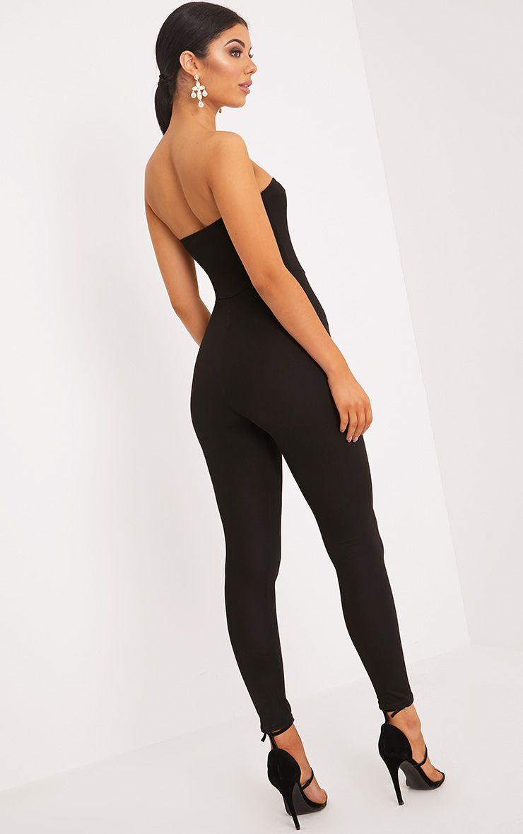 zena black corset tie front jumpsuit