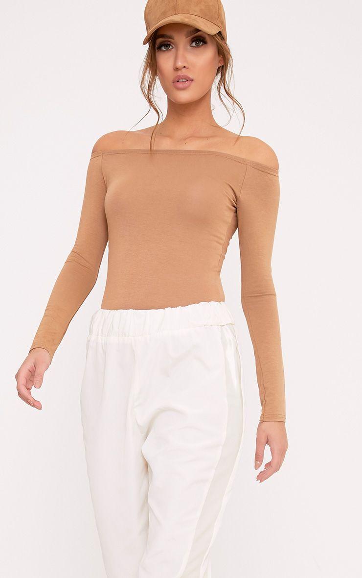 Basic Camel Bardot Bodysuit 1