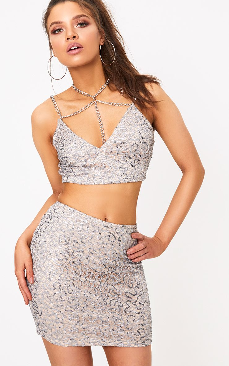 Rosaria Grey Spakle Web Lace Mini Skirt
