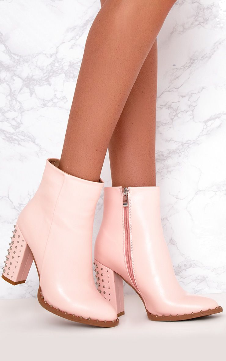 Baby Pink Studded Sole Heeled Ankle Boots 1