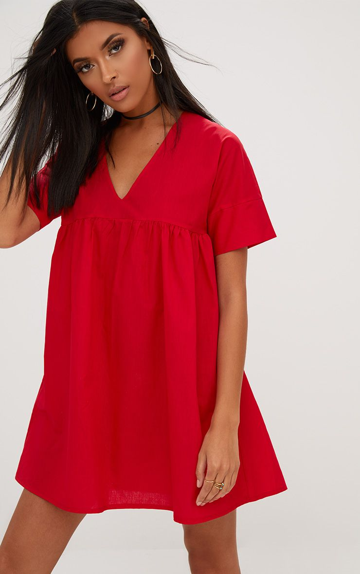 Robe à smocks en popeline rouge