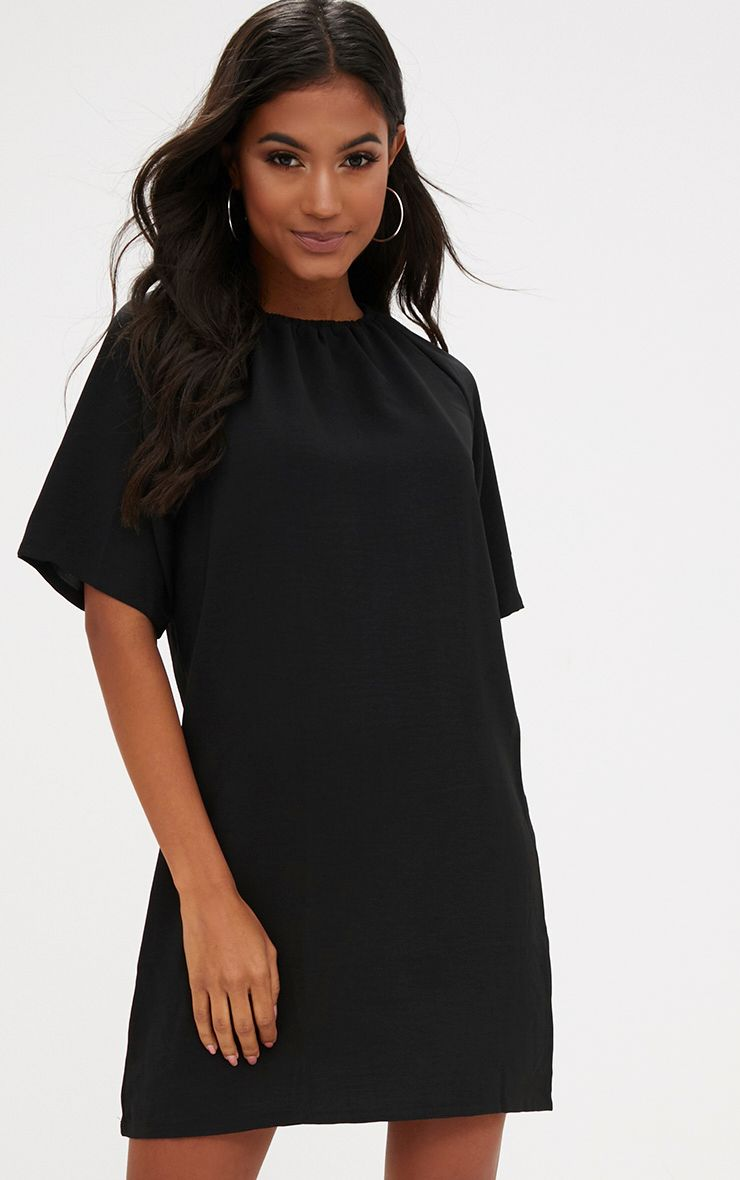 Black Ruched Neck Detail Shift Dress