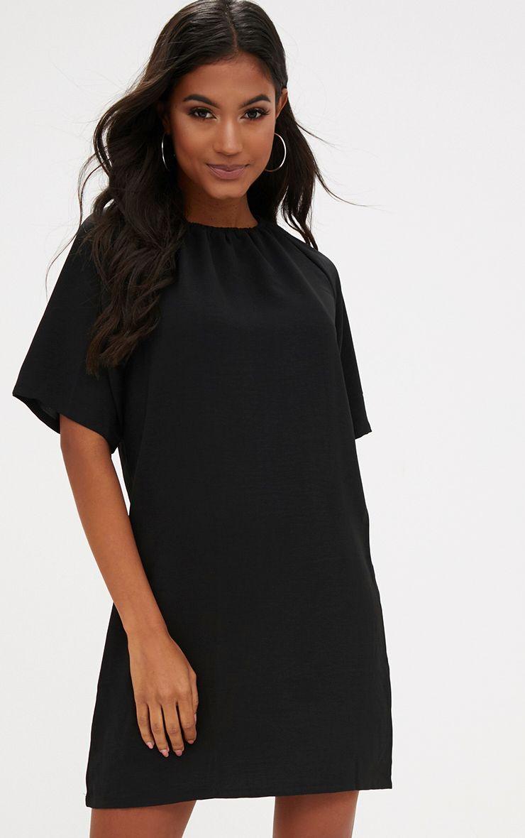 Black Ruched Neck Detail Shift Dress