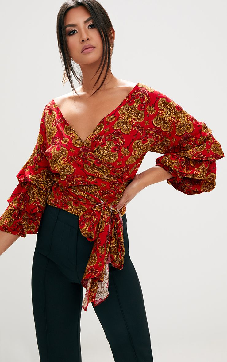 Red Chain Print Ruffle Sleeve Low Shoulder Shirt