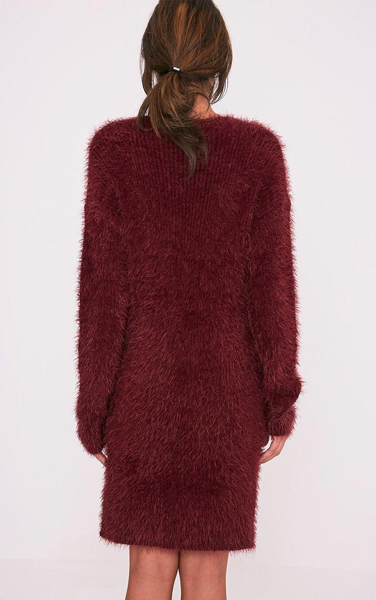 Floraline Burgundy Lace Up Mohair Knit Jumper Dress 2