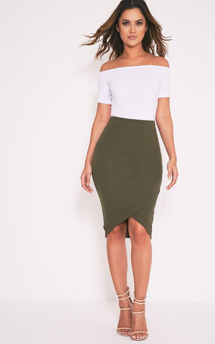 Gabriella Khaki Wrap Hem Midi Skirt