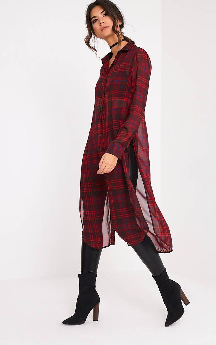 Leonie Red Soft Chiffon Check Longline Shirt