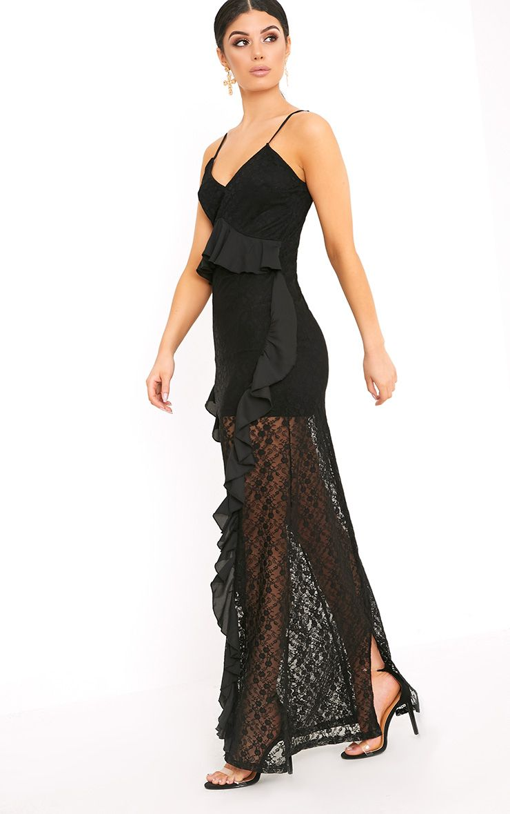 Pheobie Black Lace Frill Detail Maxi Dress