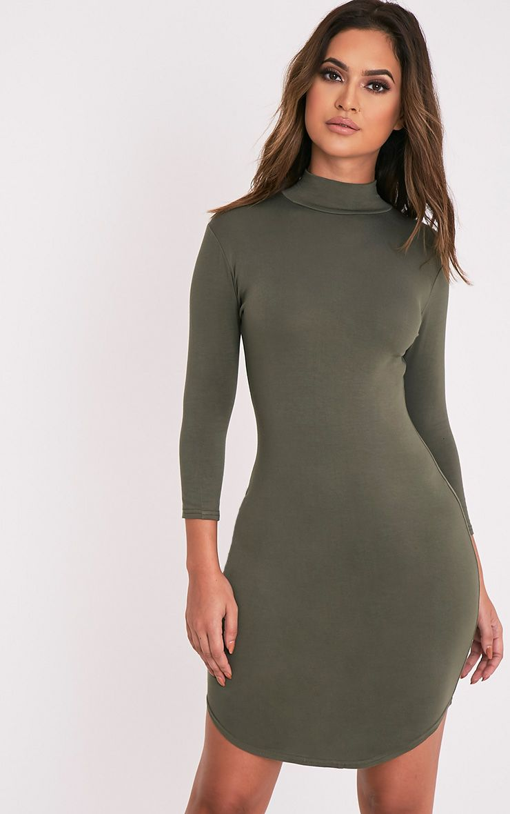 Alby Khaki 3/4 Sleeve Curve Hem Bodycon Dress