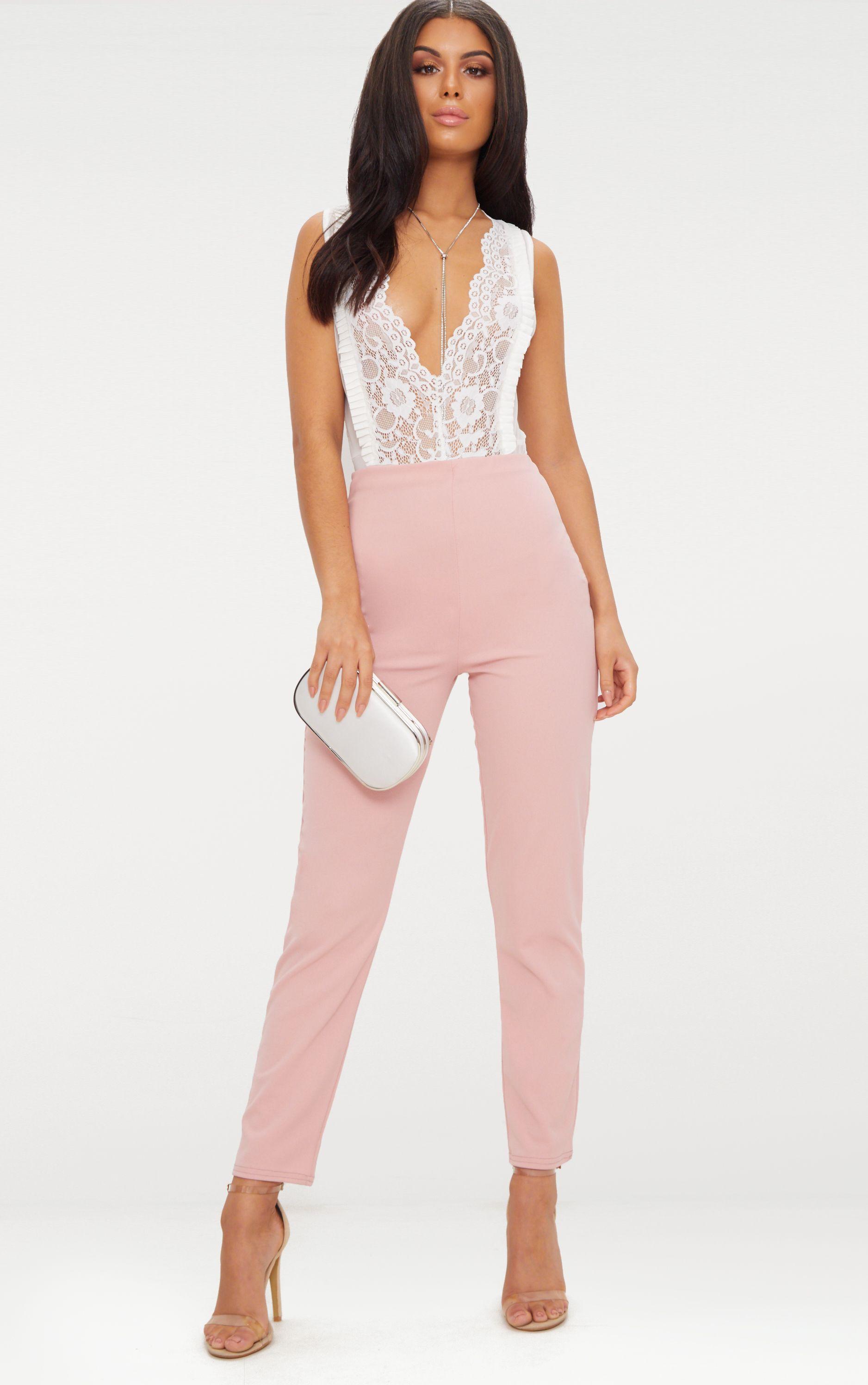 Pastel Pink Slim Leg Crepe Trousers