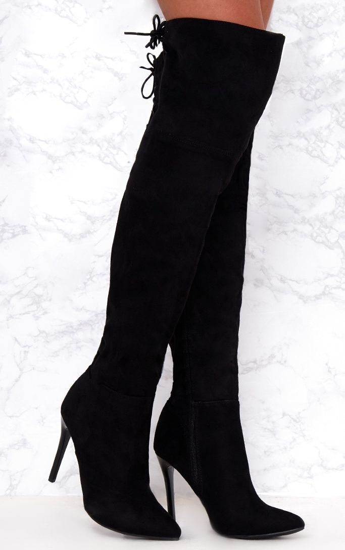 Black Faux Suede Lace Up Back Thigh High Boots