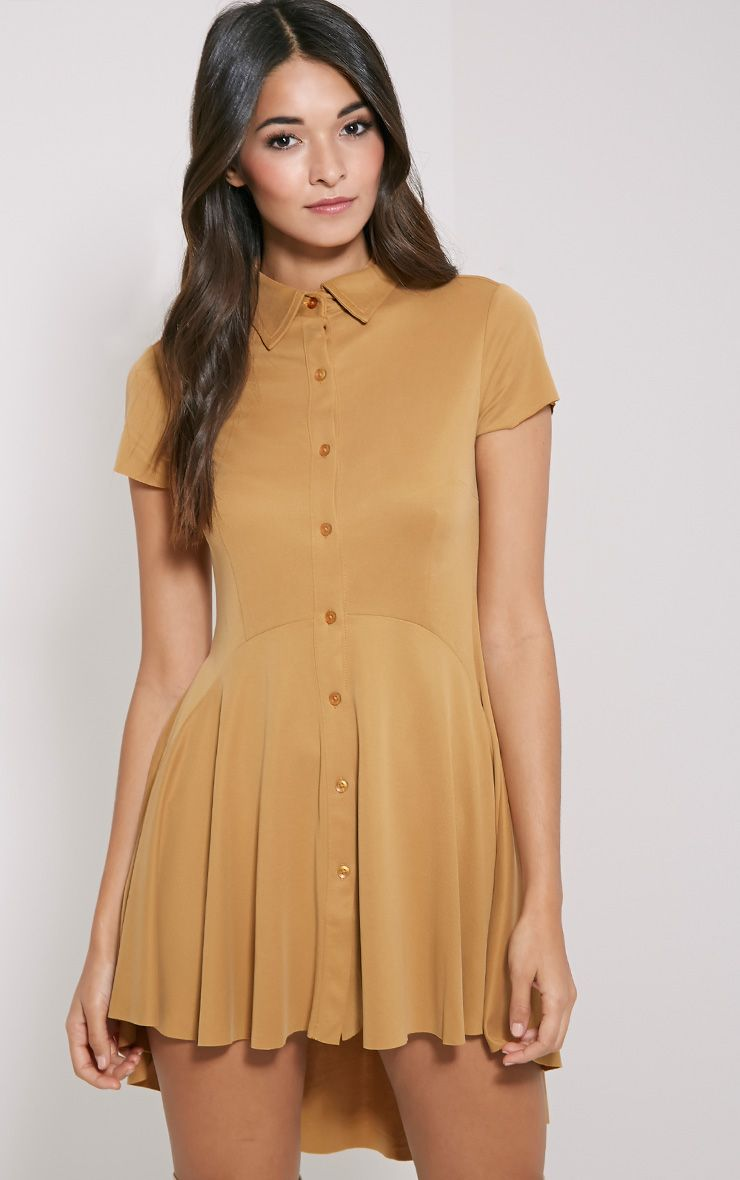 Shaya Mustard Brushed Crepe Shirt Dress 1