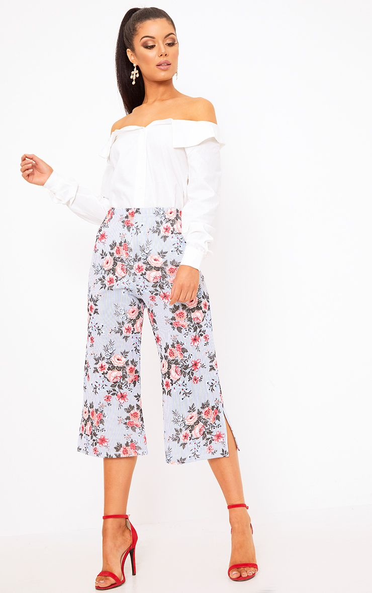 Navy Mix Floral Stripe Split Culottes