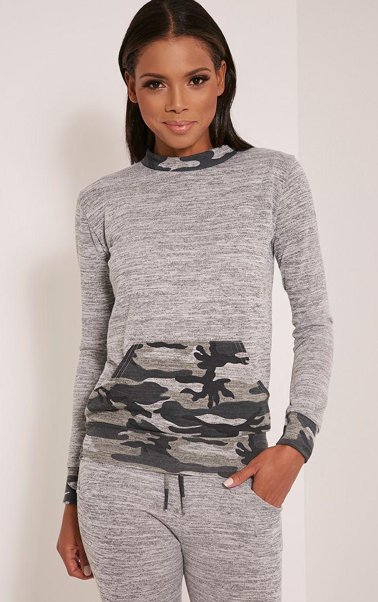 Kimora Grey Camouflage Contrast Tracksuit Sweatshirt 1