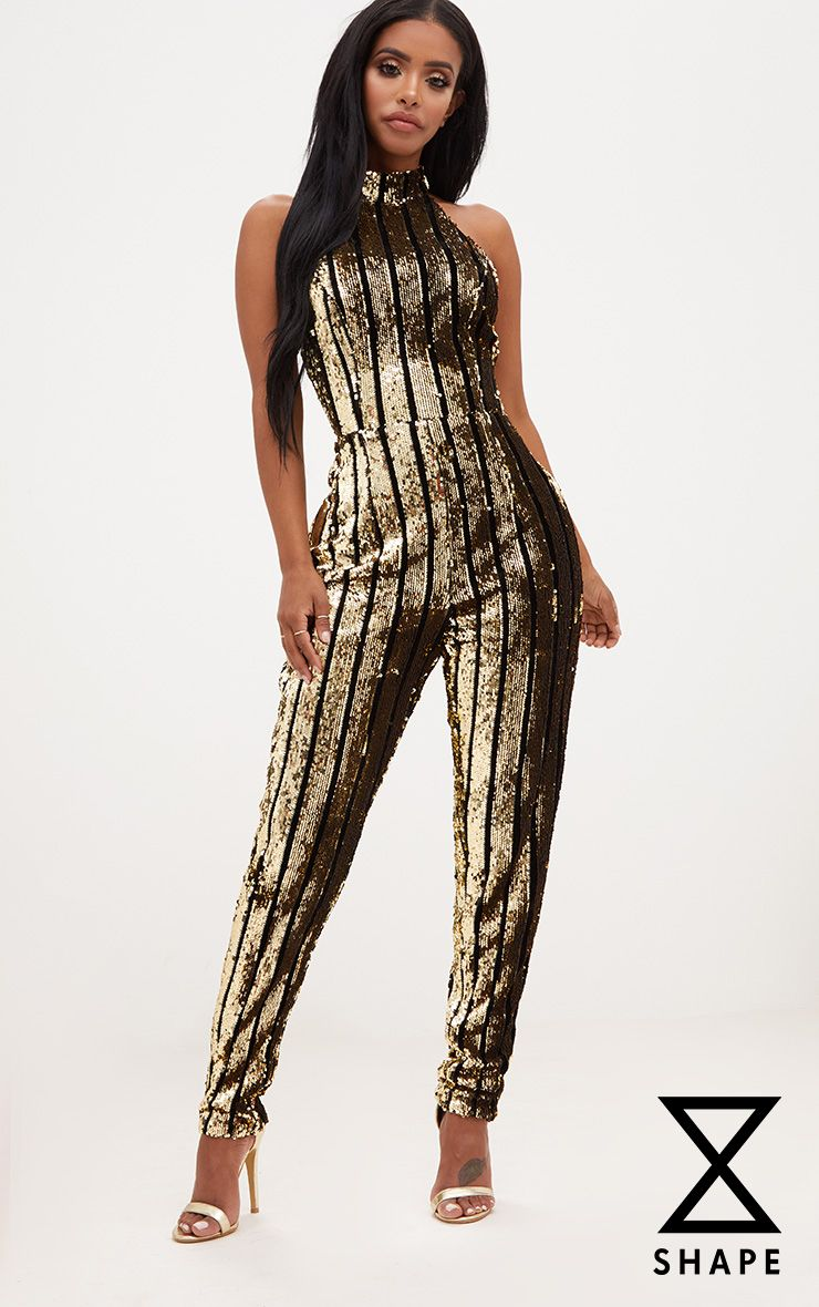 Shape Gold Sequin Halterneck Jumpsuit 1