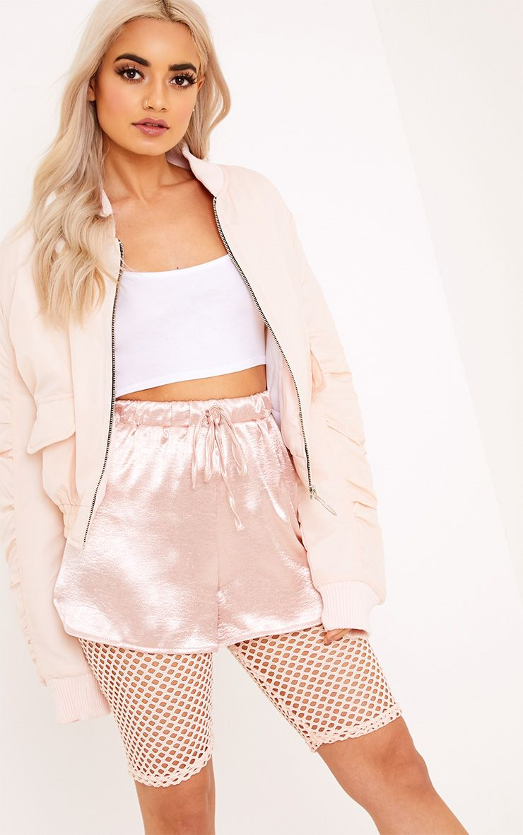 Deserae Nude Cropped Statement Zip Pull Bomber Jacket