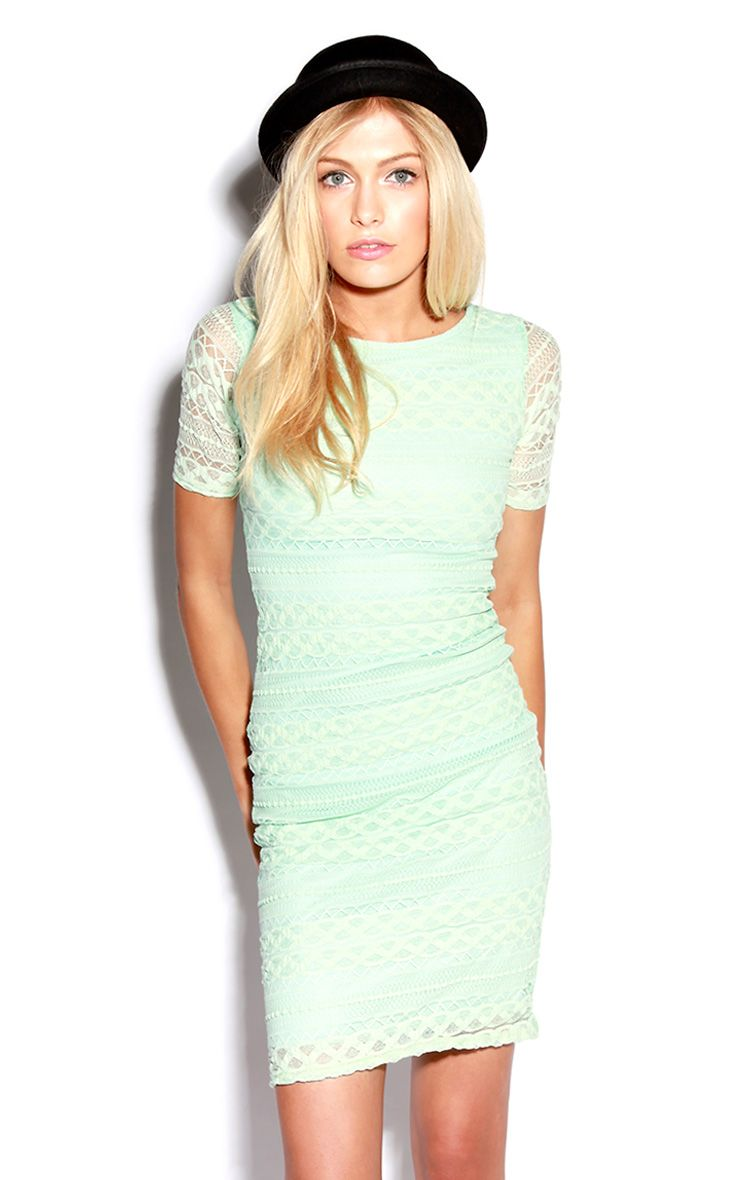 Mint Lace Bodycon Midi Dress 1