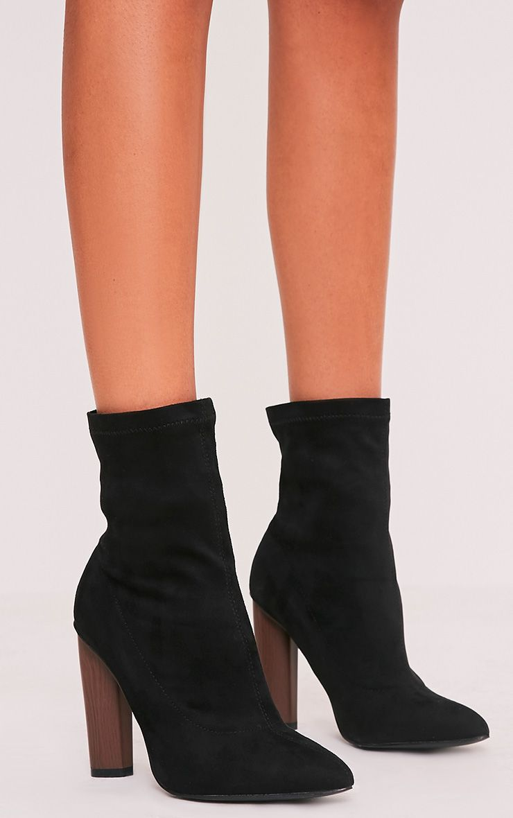 Celisa Black Faux Suede Sock Ankle Boots