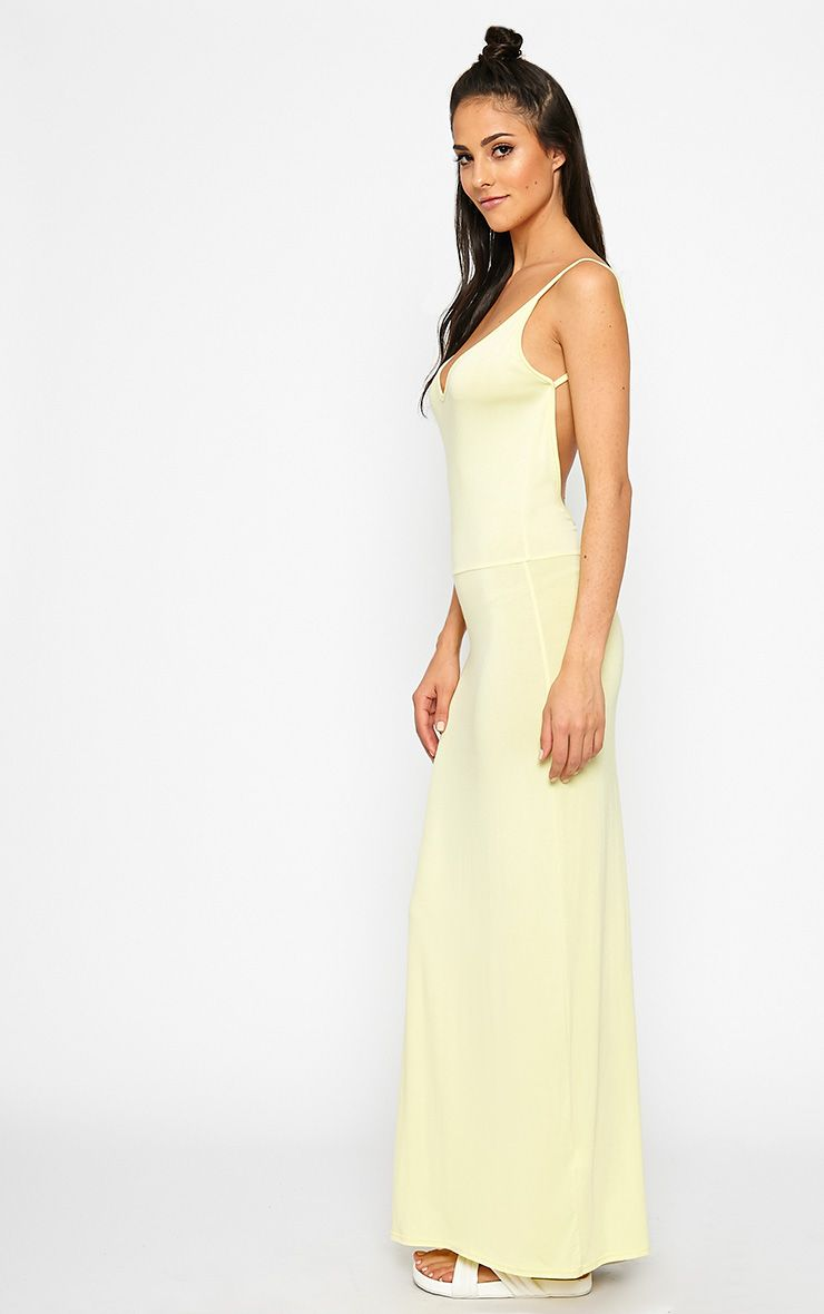 Ellina Lemon Scoop Back Jersey Maxi Dress 1