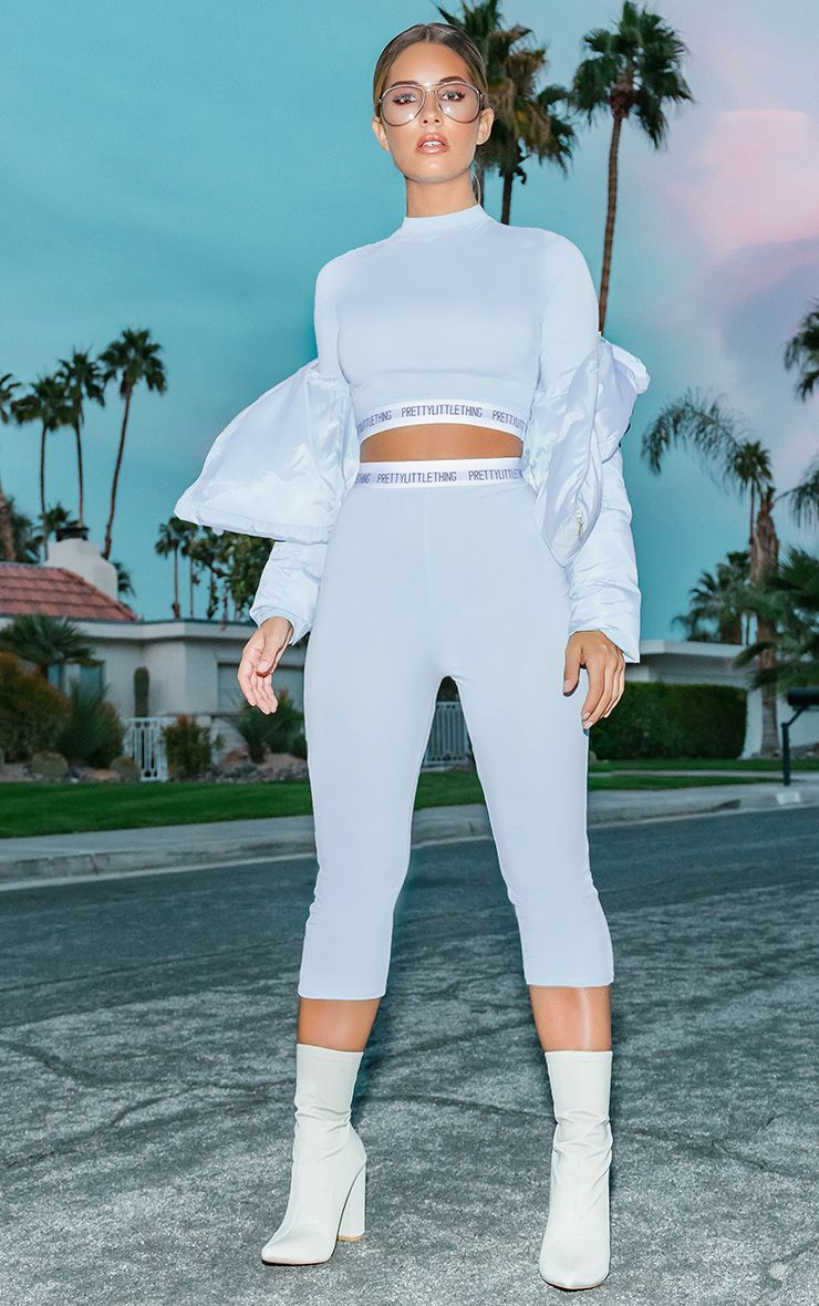 Baby Blue PrettyLittleThing Jersey Cropped Leggings
